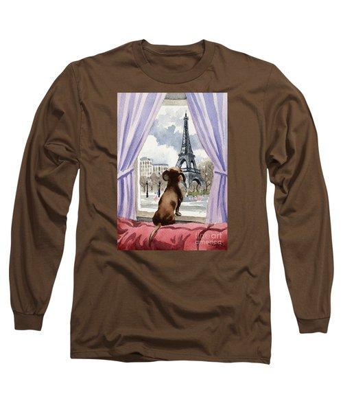 Dachshund In Paris Long Sleeve T-Shirt