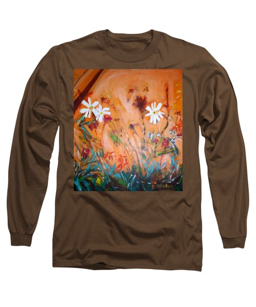 Long Sleeve T-Shirt featuring the painting Daisies Along The Fence by Winsome Gunning