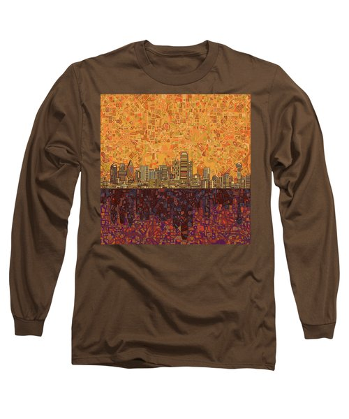 Dallas Skyline Abstract Long Sleeve T-Shirt by Bekim Art
