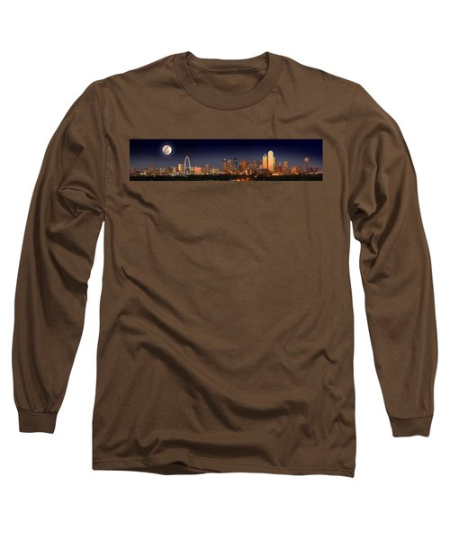 Dallas Skyline At Dusk Big Moon Night  Long Sleeve T-Shirt by Jon Holiday