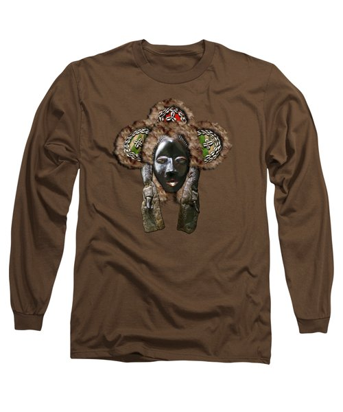 Dan Dean-gle Mask Of The Ivory Coast And Liberia On Red Velvet Long Sleeve T-Shirt