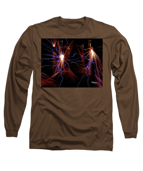 Long Sleeve T-Shirt featuring the photograph Dancing Fireworks #0707 by Barbara Tristan