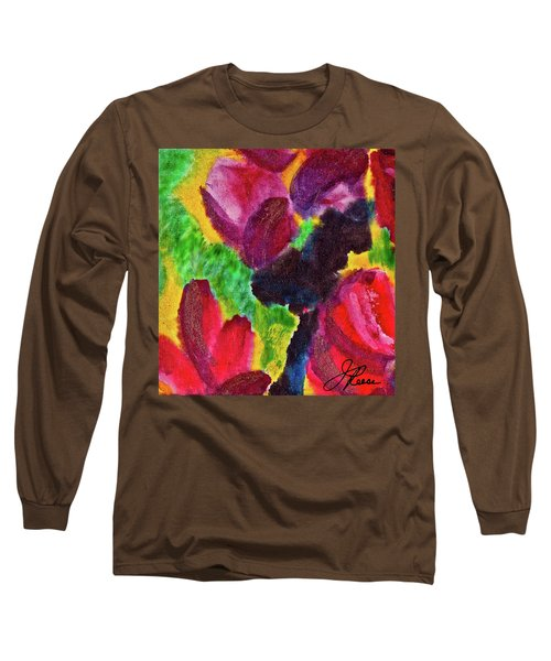 Long Sleeve T-Shirt featuring the painting Dancing Flowers by Joan Reese