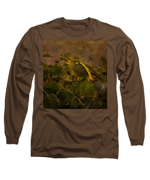 Dark Textured Sunflower Long Sleeve T-Shirt by Arlene Carmel