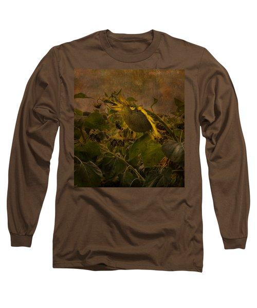 Dark Textured Sunflower Long Sleeve T-Shirt