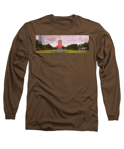 Dawn Panorama Of Houston City Hall At Hermann Square - Downtown Houston Harris County Long Sleeve T-Shirt