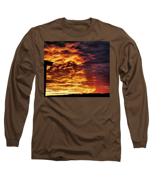 Long Sleeve T-Shirt featuring the painting December Austin Sunset  by Layne William LoMaglio
