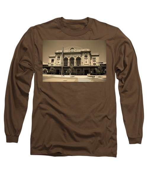 Long Sleeve T-Shirt featuring the photograph Denver - Union Station Sepia 5 by Frank Romeo