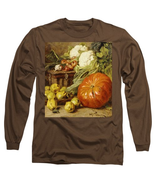 Detail Of A Still Life With A Basket, Pears, Onions, Cauliflowers, Cabbages, Garlic And A Pumpkin Long Sleeve T-Shirt by Eugene Claude
