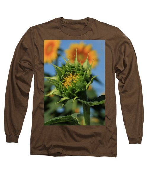 Long Sleeve T-Shirt featuring the photograph Developing Petals On A Sunflower by Chris Berry