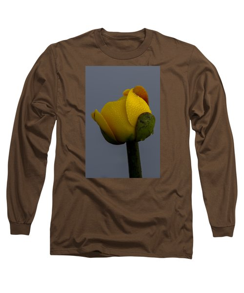 Dew Covered Yellow Water Lily Long Sleeve T-Shirt