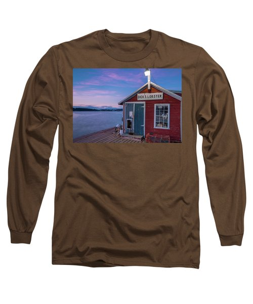 Long Sleeve T-Shirt featuring the photograph Dicks Lobsters - Crabs Shack In Maine by Ranjay Mitra