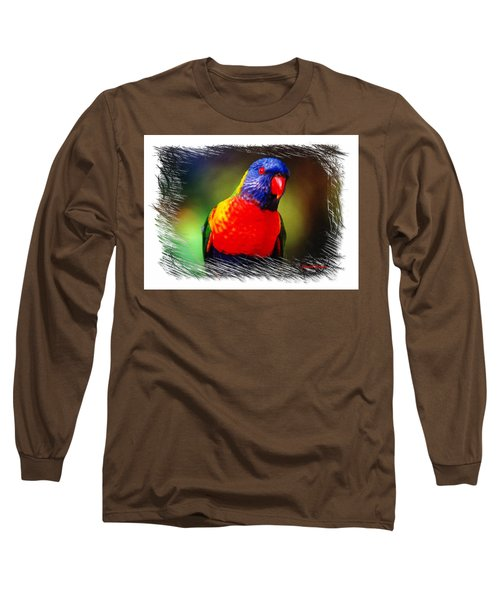 Long Sleeve T-Shirt featuring the photograph Do-00153 Colourful Lorikeet by Digital Oil