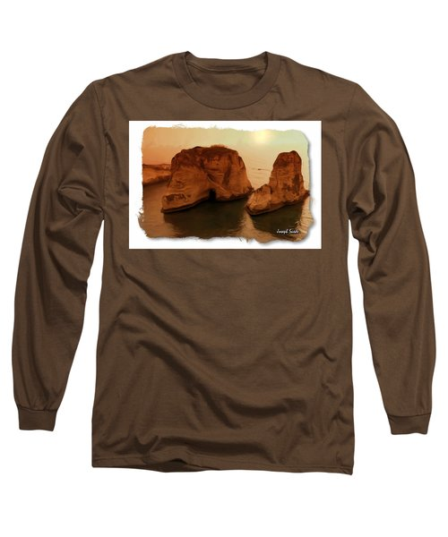 Long Sleeve T-Shirt featuring the photograph Do-00405 Raouche Sunset Beirut  by Digital Oil