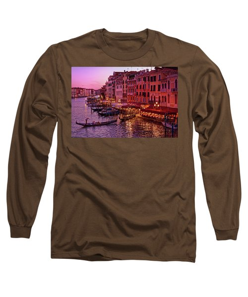 A Cityscape With Vintage Buildings And Gondola - From The Rialto In Venice, Italy Long Sleeve T-Shirt