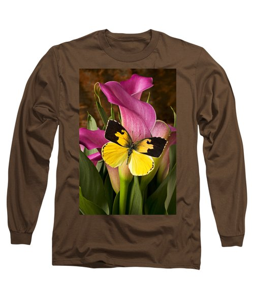 Dogface Butterfly On Pink Calla Lily  Long Sleeve T-Shirt