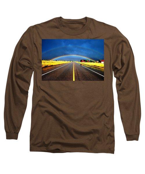 Double Rainbow Over A Road Long Sleeve T-Shirt