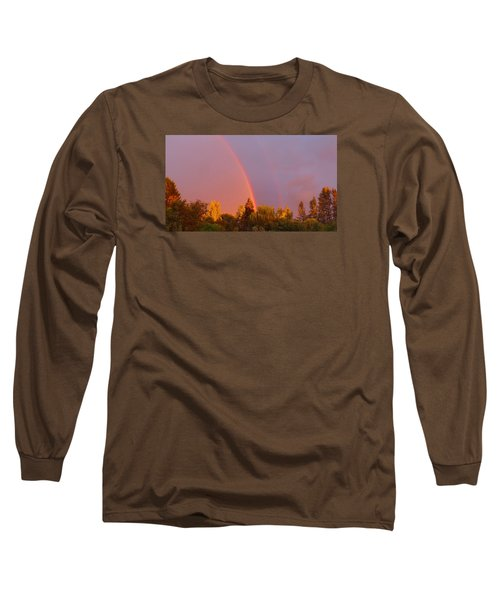Double Rainbow Over Bow Long Sleeve T-Shirt by Karen Molenaar Terrell