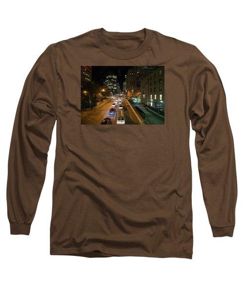 Down Town Toronto At Night Long Sleeve T-Shirt by John Black