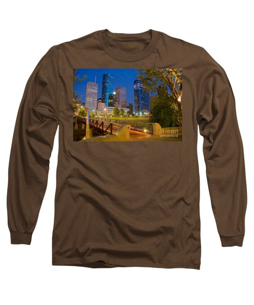 Dowtown Houston By Night Long Sleeve T-Shirt