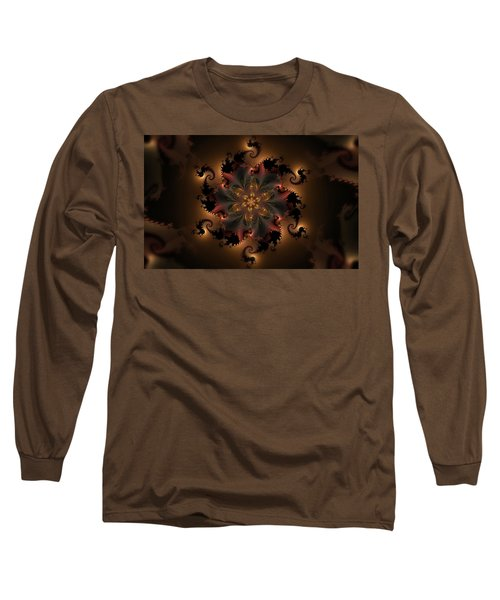 Dragon Flower Long Sleeve T-Shirt by GJ Blackman