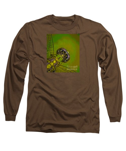 Long Sleeve T-Shirt featuring the mixed media Dragonfly Detail by Kim Henderson