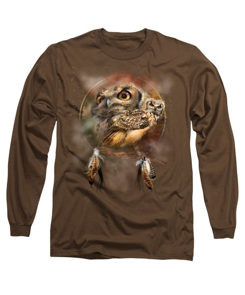 Dream Catcher - Spirit Of The Owl Long Sleeve T-Shirt by Carol Cavalaris