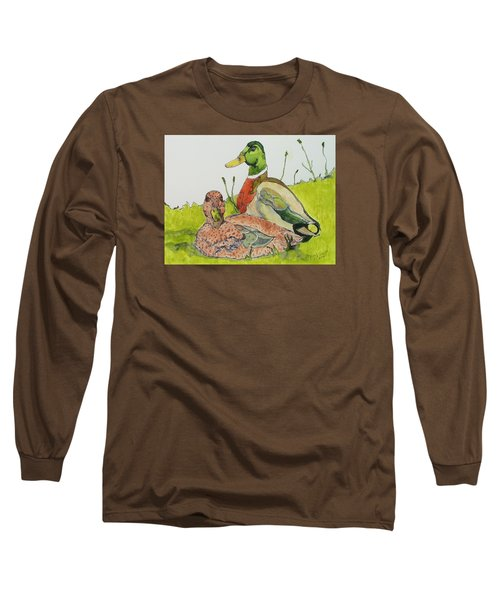 Long Sleeve T-Shirt featuring the painting Ducks In Love by Rand Swift