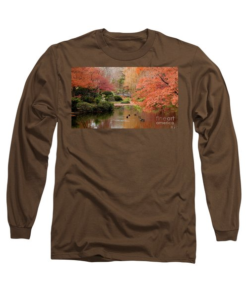 Ducks In The Pond Long Sleeve T-Shirt by Iris Greenwell