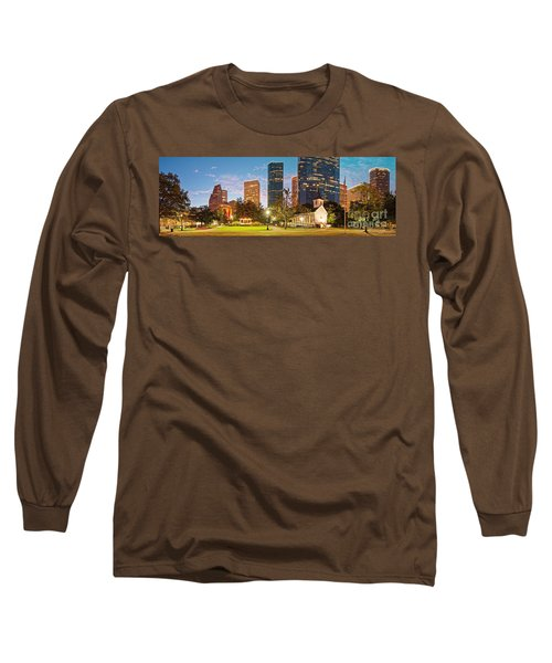 Early Morning Panorama Of Sam Houston Park At Downtown Houston - Harris County Texas Long Sleeve T-Shirt