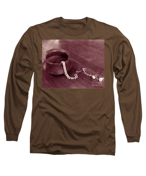 Earthen Pot And Silver Long Sleeve T-Shirt by Mukta Gupta