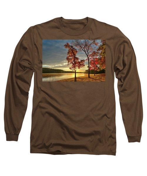 East Texas Autumn Sunrise At The Lake Long Sleeve T-Shirt