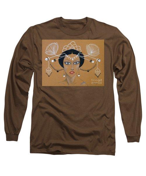 Eastern Elegance -- Whimsical Asian Woman Long Sleeve T-Shirt