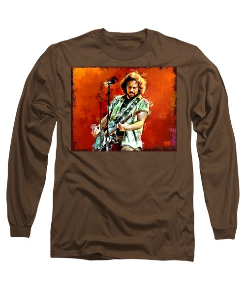Eddie Vedder Painting Long Sleeve T-Shirt by Scott Wallace