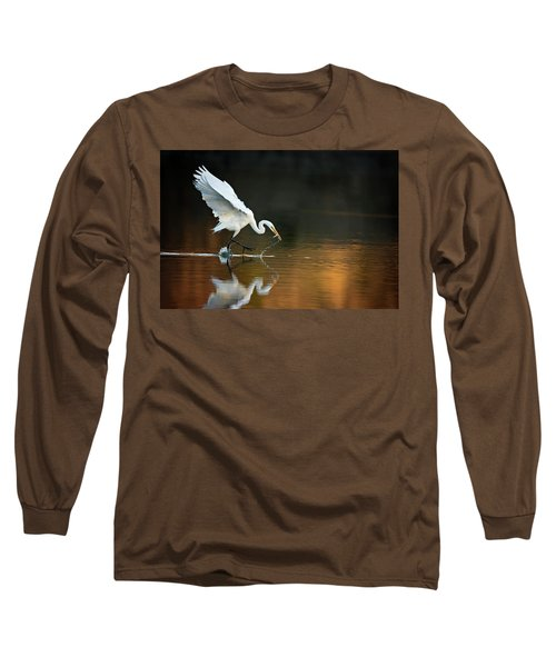 Egret At Sunset Long Sleeve T-Shirt
