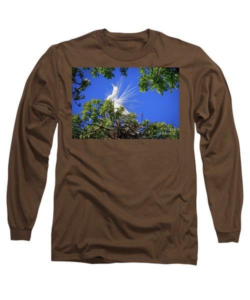 Egret Showing Off Long Sleeve T-Shirt