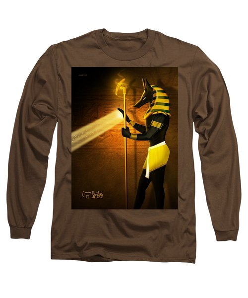 Long Sleeve T-Shirt featuring the digital art Egyptian God Anubis by John Wills