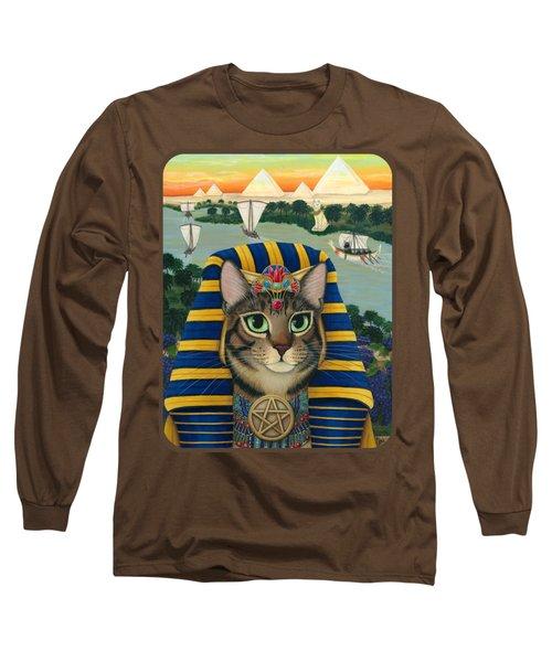 Egyptian Pharaoh Cat - King Of Pentacles Long Sleeve T-Shirt