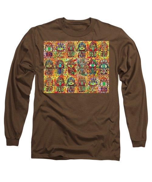 -eighteen Vintage Chai Hamsas Long Sleeve T-Shirt