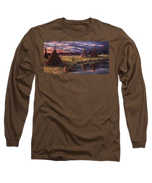 Long Sleeve T-Shirt featuring the painting Encampment At Dusk by Nancy Griswold