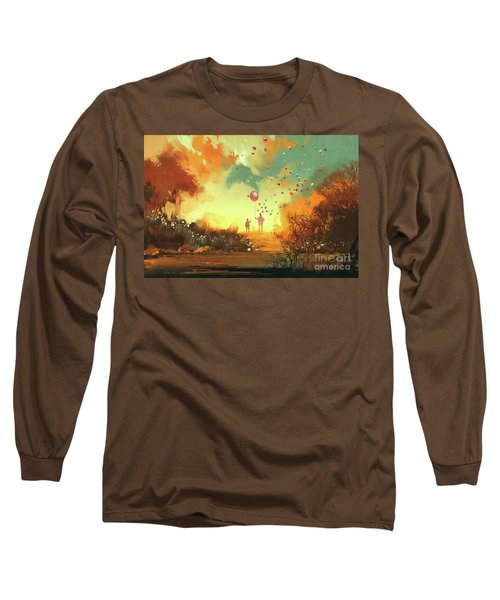 Long Sleeve T-Shirt featuring the painting Enter The Fantasy Land by Tithi Luadthong