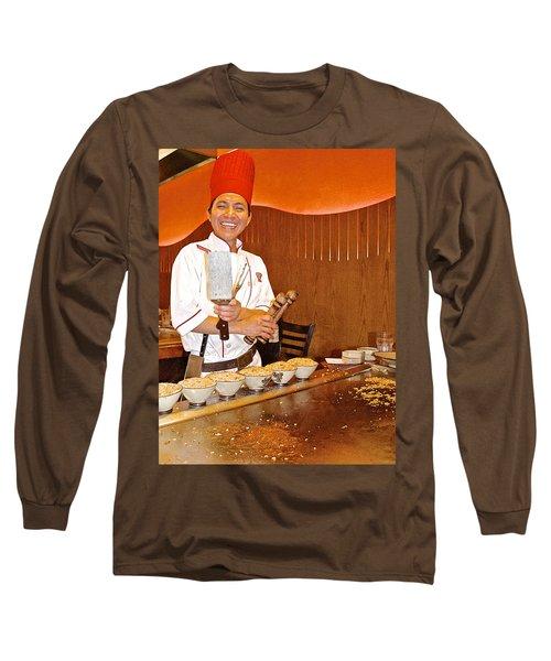 Entertaining Chef At Benihana In Monterey-california Long Sleeve T-Shirt