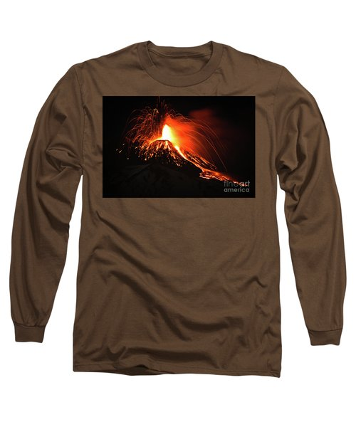 Long Sleeve T-Shirt featuring the pyrography Etna by Bruno Spagnolo
