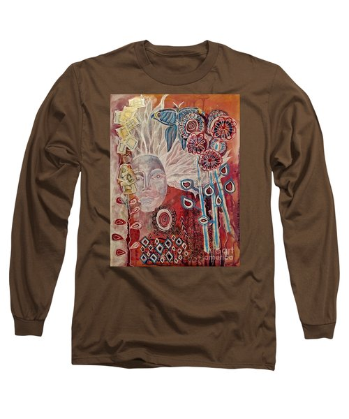 Long Sleeve T-Shirt featuring the mixed media Evening by Mimulux patricia no No