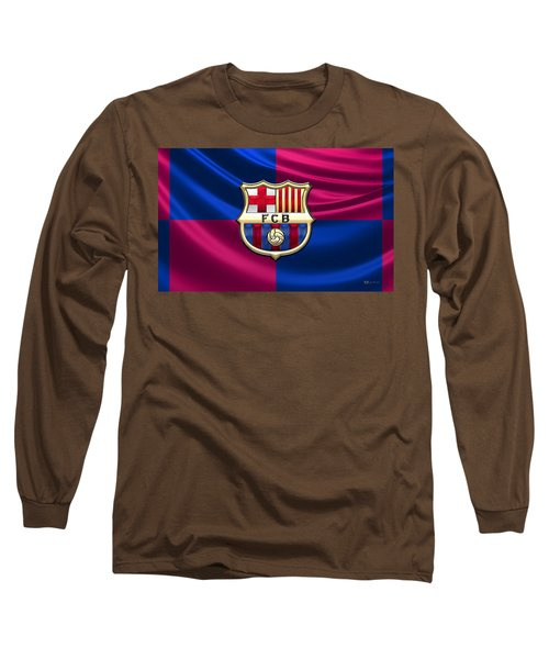 F. C. Barcelona - 3d Badge Over Flag Long Sleeve T-Shirt