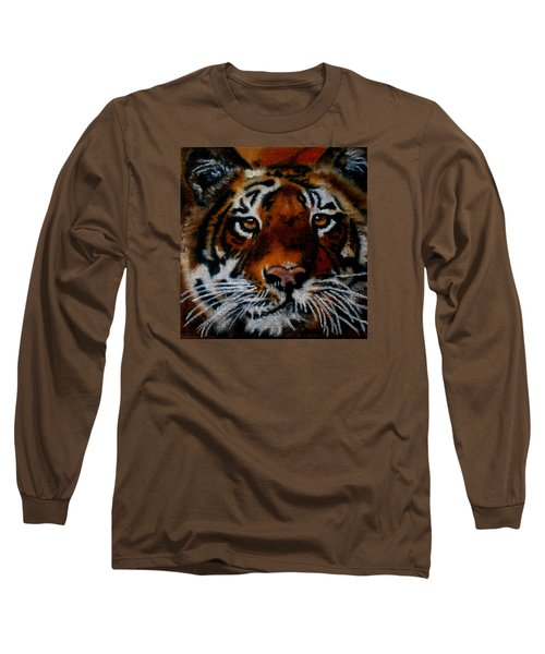 Face Of A Tiger Long Sleeve T-Shirt by Maris Sherwood