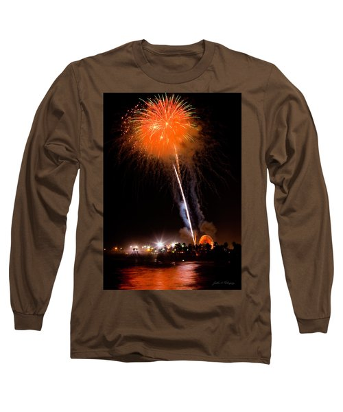 Fireworks As Seen From The Ventura California Pier Long Sleeve T-Shirt