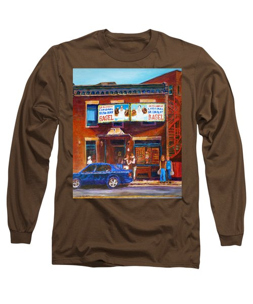 Long Sleeve T-Shirt featuring the painting Fairmount Bagel With Blue Car  by Carole Spandau
