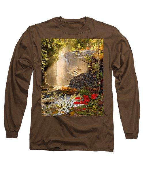 Fall Falls Mist  Dead River Falls  Marquette Mi Long Sleeve T-Shirt by Michael Bessler