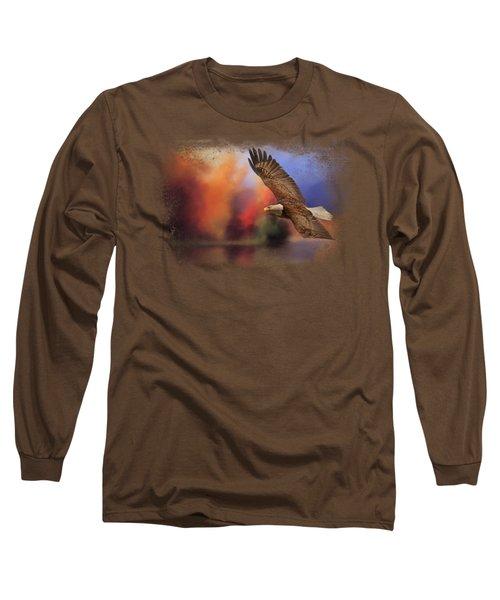 Fall Flight - Bald Eagle Long Sleeve T-Shirt by Jai Johnson